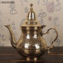 Тонкий медный чайник из чистой меди ручной работы, чайник для молока, бытовой чайный набор, чай для молока, антикварная кухонная утварь, чайник, медный горшок