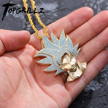TOPGRILLZ Iced Out Dragon Ball Character Monkey King Pendant Necklace Gold silver Cubic Zircon Hip Hop Charm Chain Jewelry Gift(China)
