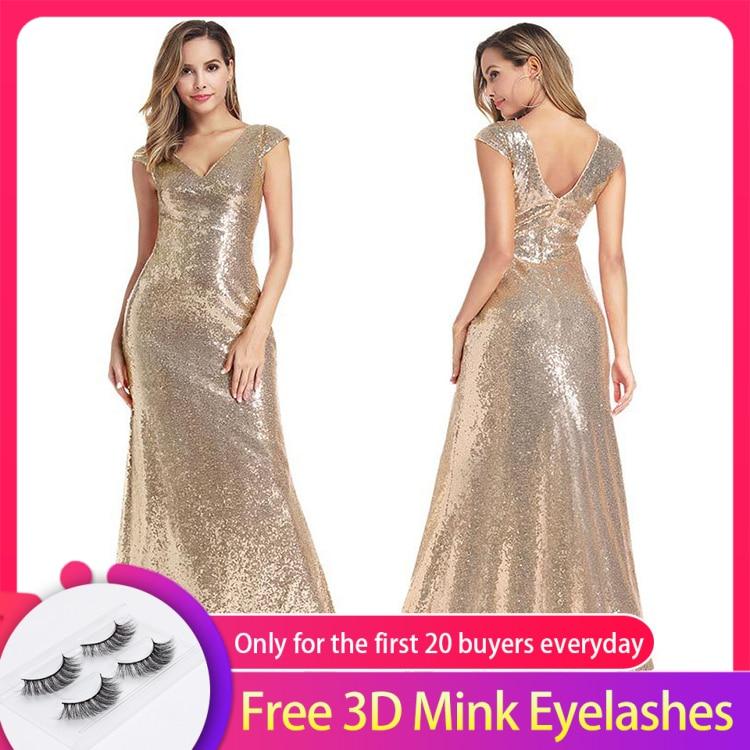 Sexy Double col en v sirène robe de soirée manches coiffées brillant paillettes étage longueur robe dos nu robe pour la fête