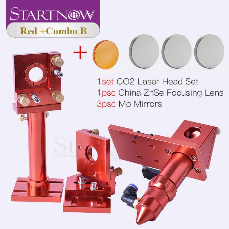 Kit de cabeza láser de CO2 Startnow, lente de enfoque de 20mm y soporte de montaje de espejo de 25mm Mo Si para piezas de repuesto de Base metálica de Máquina de corte CNC DIY