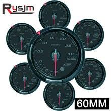64 cores 60mm turbo boost medidor de pressão do carro tacômetro volt temperatura do óleo da imprensa óleo rpm vácuo medidor automático