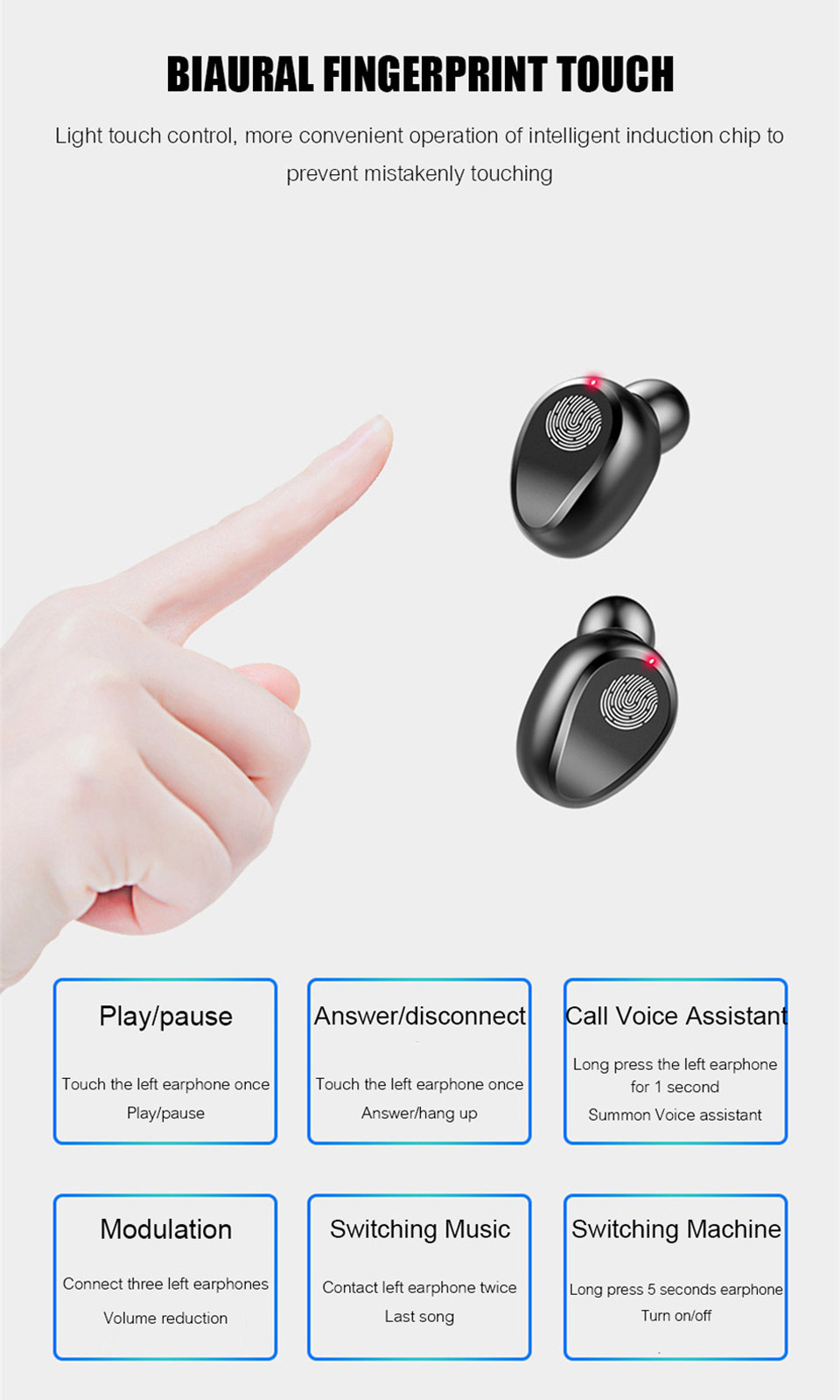 TWS Bluetooth Wireless Earphones Headphones Earbuds Touch Control Gaming/Sport Headset Noise Cancel Earphone Headphone