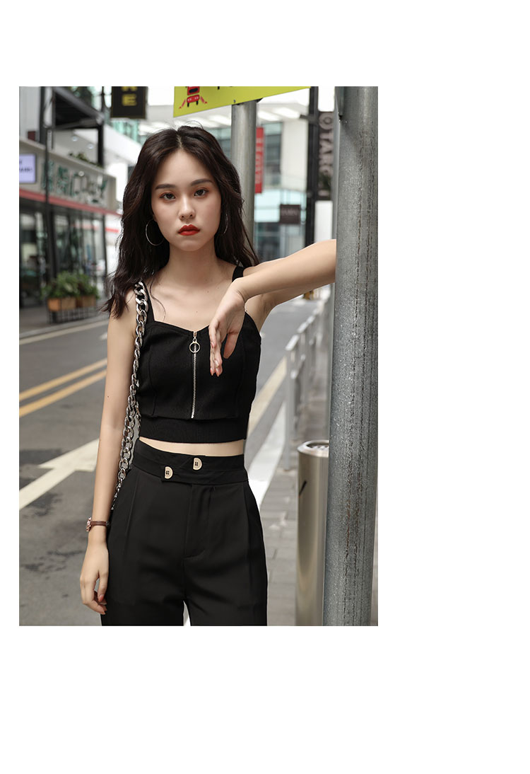 H75be47d6a519482e873c6b33b9c572abp - HELIAR Tops Women Crop Top Club Sexy Zipper Knitting Camisole With Hole Female Tank Tops Ladies Sleeveless Solid Strap Top Women