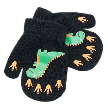 Cartoon dinozaur drukowane dziecięce rękawiczki antypoślizgowe wełniane rękawiczki z dzianiny Outdoor wiatroszczelne ciepłe zimowe rękawiczki Rekawiczki tanie i dobre opinie CN (pochodzenie) COTTON Poliester Akrylowe Cotton Blend Unisex Childrens Cute Winter Warm Knitted Gloves Mittens As Shown
