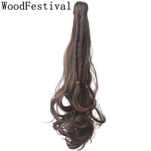 WoodFestival Women Heat Resistant Wavy Claw Clip Ponytail Ponytails Wigs Hairpieces Synthetic Hair Extension недорого