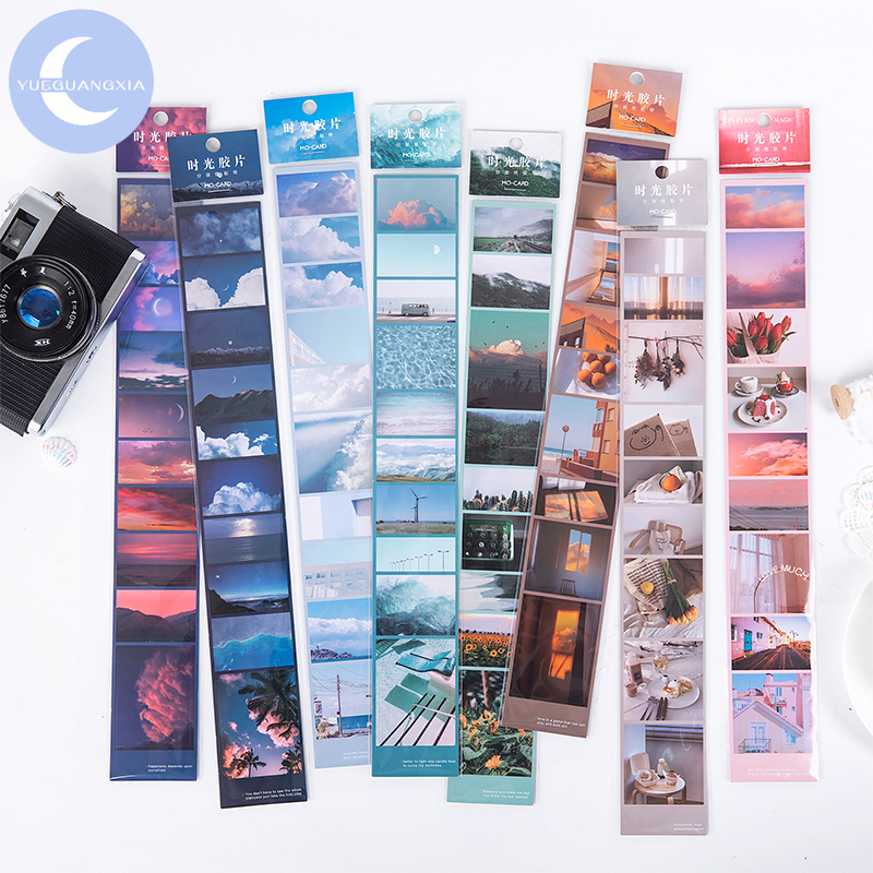 YueGuangXia Time Film Fragment Scenery Colorful Artistic Bullet Journaling Deco Sticker Foggy PET Material Masking Tapes 8Design
