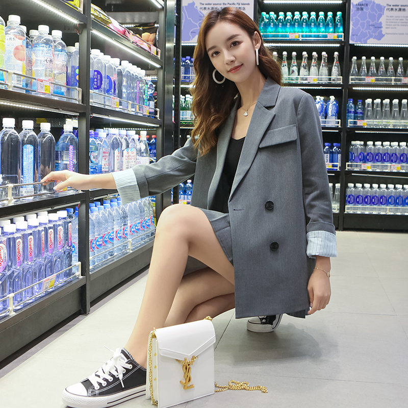 Vintage Loose Women Blazer Casual Simple Solid Gray Suit Jacket Long Sleeve Veste Blazer Korean Spring Women Jacket New MM60NXZ