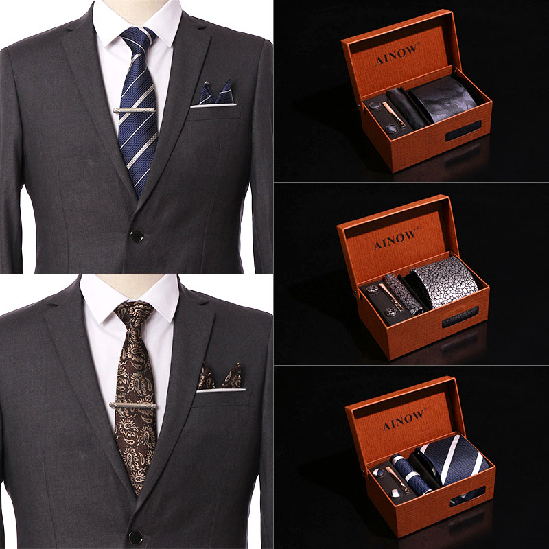 Wedding Men Neckties Gift Box Packing Luxury Men Pocket Square Jacquard Tie Tie Clip Cufflinks Handkerchief 6Pcs Set Accessories