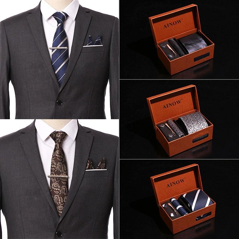 Wedding Men Neckties Gift Box Packing Luxury Men Pocket Square Jacquard Tie Tie Clip Cufflinks Handkerchief 6Pcs Set Accessories