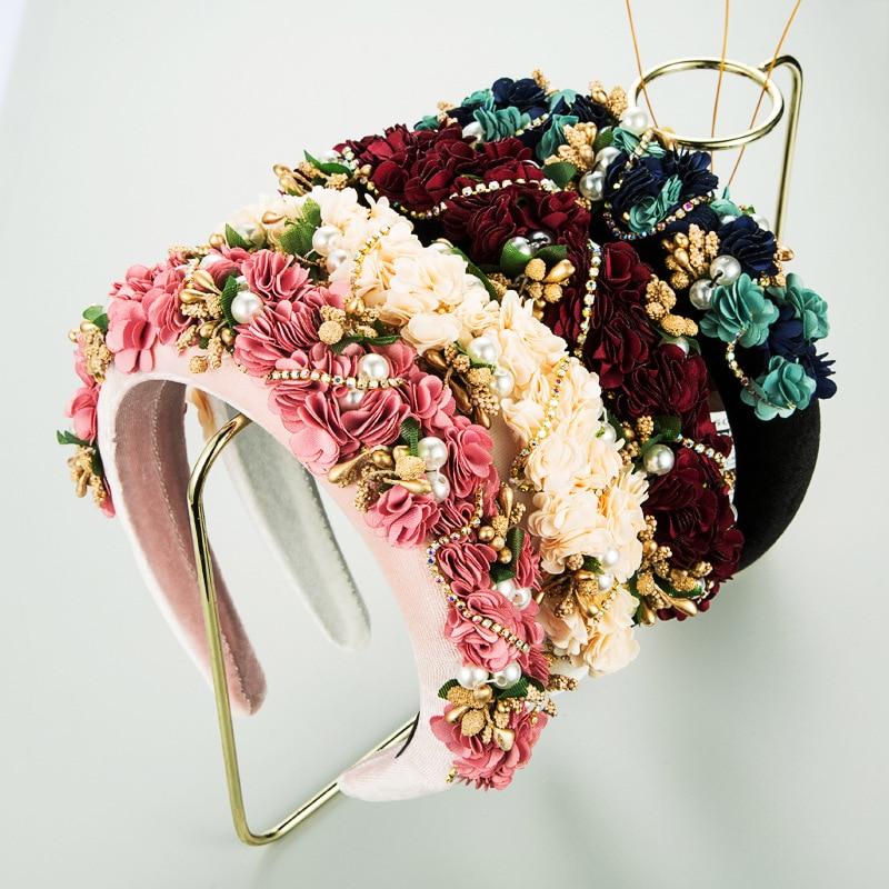 Handmade Pink Blue Red Flower Crown Headbands Pearl Baroque Hairbands For Women Bridal Headpiece Wedding Prom Hair Jewelry