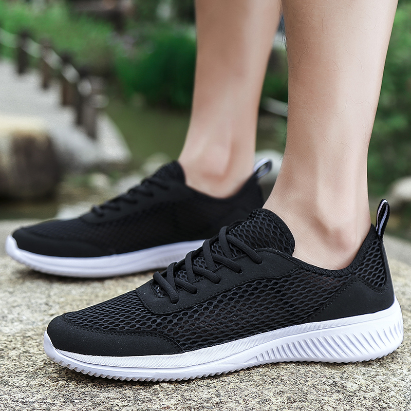 Large size47 black sports shoes video introduces breathable  prevent foot odor leisure running mesh tenis masculino