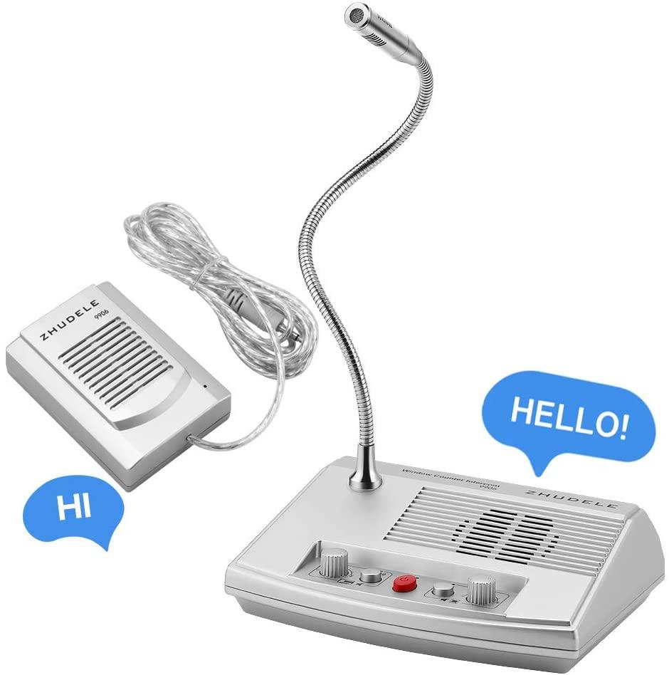 Dual Way Speaker Interphone Audio Record Anti-interference Window Intercom System Window Speaker Intercom Glass Window Microphon