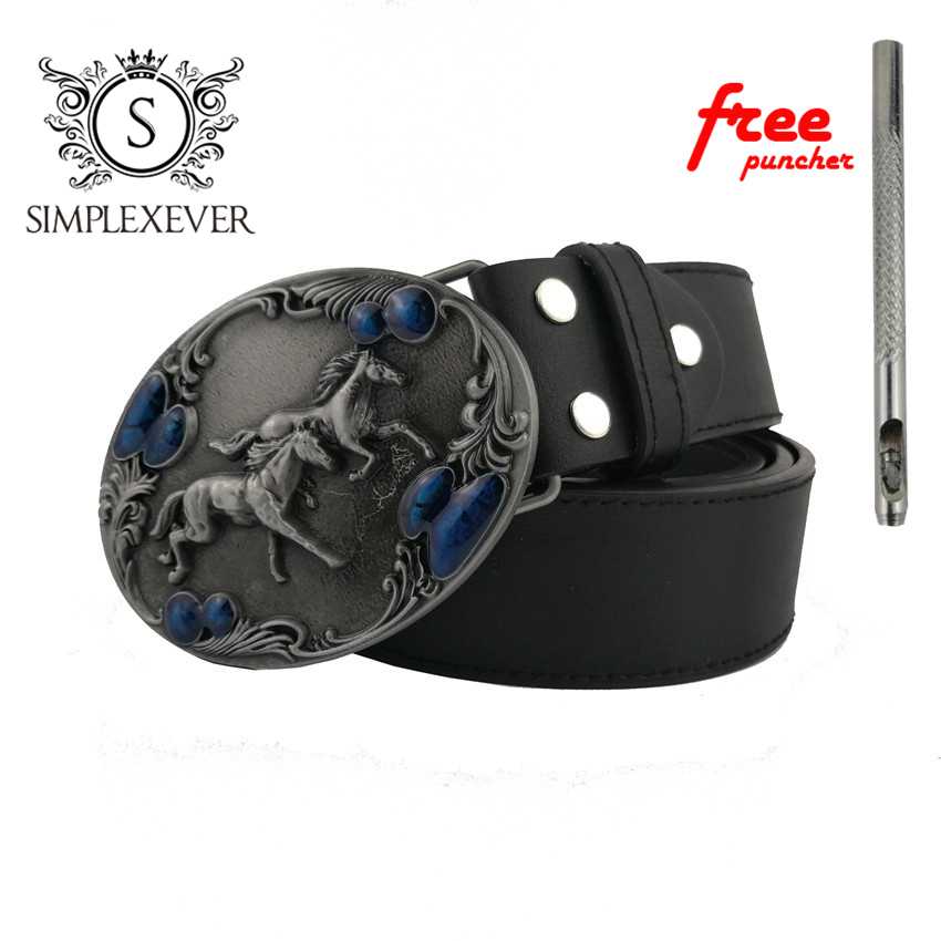 Cool 3D Running Horse Belt Buckle For Men Metal Belt Buckle Fit 4cm Wide Belt Fashion Men Women Jeans Accessories