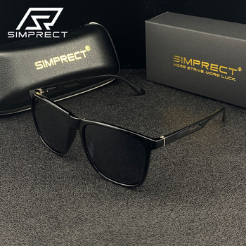 SIMPRECT Aluminum-Magnesium Polarized Sunglasses Men 2020 UV400 Anti-glare Driver's Sunglasses Retro Square Sun Glasses For Men aoron photochromic polarized mens sunglasses classic rectangle sun glasses uv400 aluminum magnesium leg sunglasses