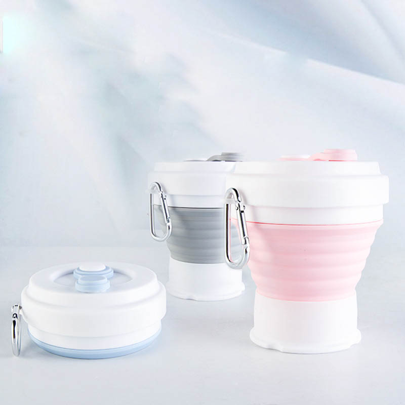 350ML Folding Silicone water cup Portable Silicone Telescopic Drinking Collapsible Coffee Cup Folding Silica Cup Lids Travel