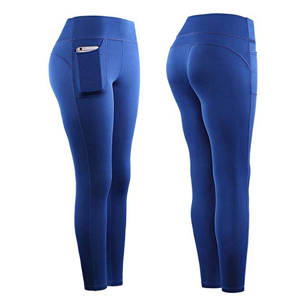 Leggings Sport Women Fitness High Waist Stretch Athletic Gym Casual Leggings Running Sports Pockets Active Pants For Cell Phone 3
