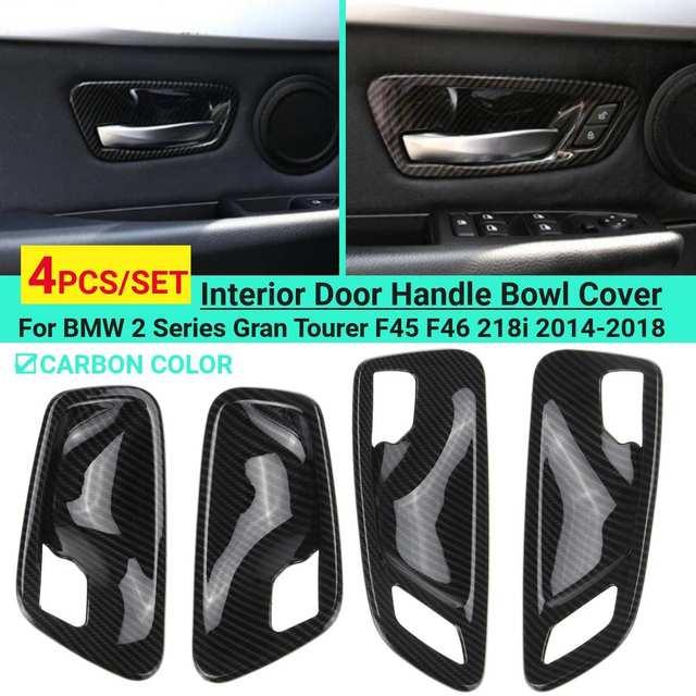 탄소 섬유 인테리어 도어 핸들 그릇 커버 트림 ABS 4Pcs BMW 2 시리즈 그란 Tourer F45 F46 218i 2014 2015 2016 2017 2018