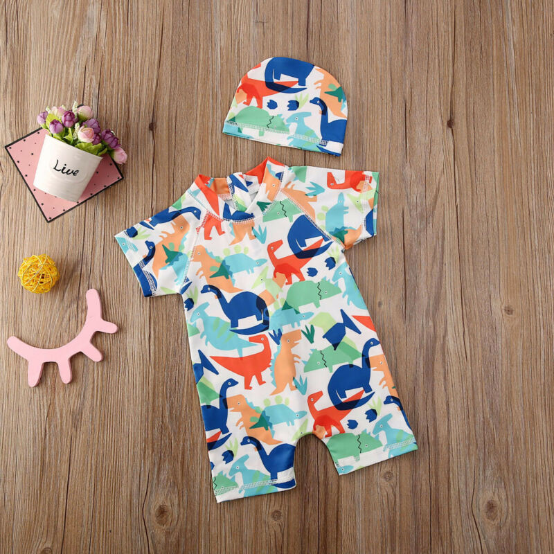 2020 Toddler Boys Baby Kids Swimsuit Sun Protective Safe Swimming Costume UV Hat Swimwear Cotton All Seasons Garden Short Sleeve