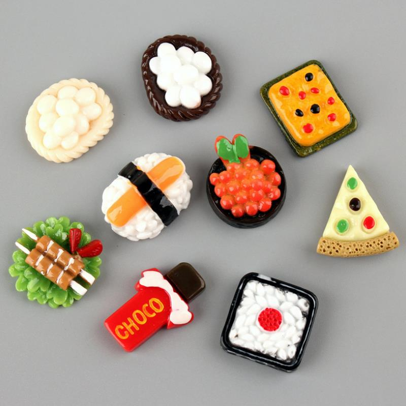 10 Pcs/lot Lovely Cartoon Japanese Food Sushi Resin Patch For Child Hair Ornament Phone Decor Craft Toys Gift