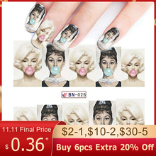 1pcs Water Transfer Nail Sticker Decals Tattoo Full Tips Slider Art Beauty Sexy Lady Women Wraps For Nail Art Decoration BEBN025