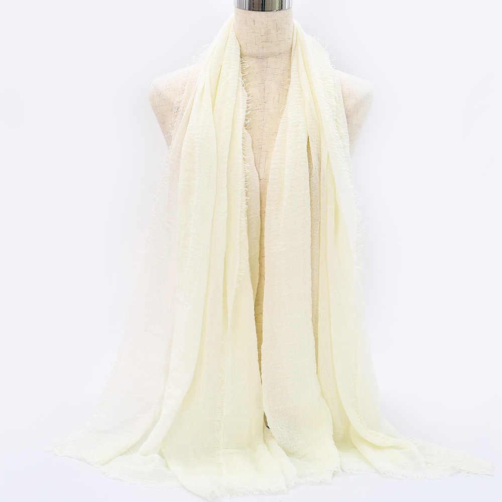 2019 modne kobiety stałe marszczone hidżab tassel szal Foulard Femme miękkie Pure Wrap dla pani islamski szalik na głowę odzież
