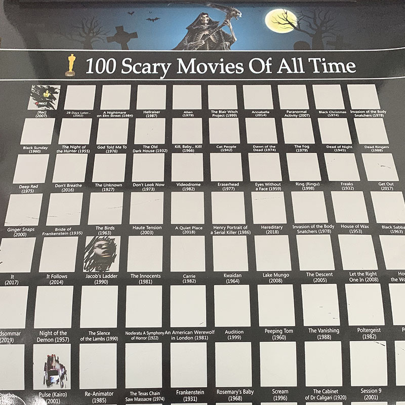 100 MOVIES -- Poster 100 Scary Movie of All The Time Scratch OFF BUCKET LIST poster Scratch Last Wish Poster image