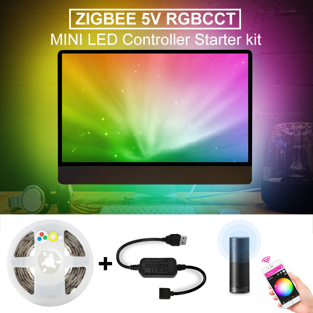 Zigbee RGBCCT LED Strip USB Mini Controller 5V 2M Smart TV LED Stripe Tape Strip Light By Alexa Echo Plus Control Zigbee 3.0 Hub