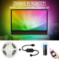 Zigbee RGBCCT LED Strip USB Mini Controller 5V 2M Smart TV LED Stripe Tape Strip Light by Alexa Echo Plus Control Zigbee 3.0 Hub