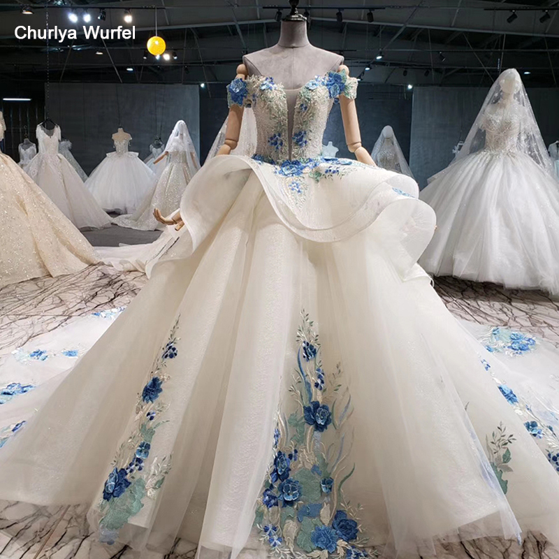 HTL1019 cheap wedding dress color blue flowers off shoulder sweetheart bead wedding gowns with tail vestidos de noiva plus size