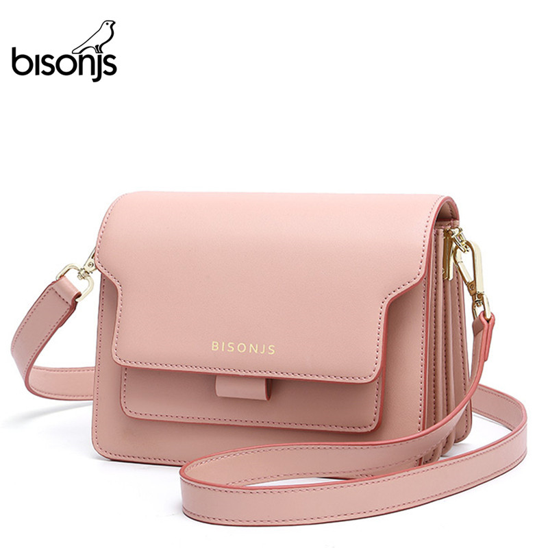BISONJS Women Bag Cow Leather  NEW Female Chain Shoulder Bag Multifunctional Crossbody Bag For Women B1955
