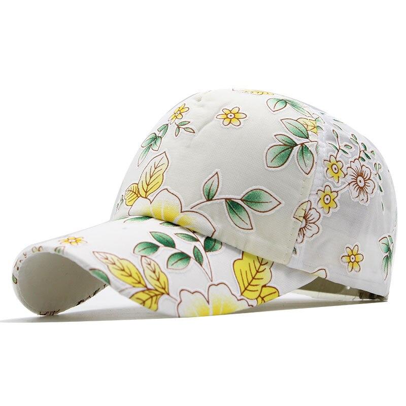 2020 Flower print Women's Baseball Cap Embroidery Flower Girls Snapback Hats Woman Female Cap Mesh Summer Sun Hat 3