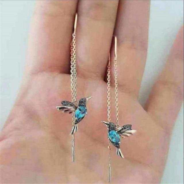Nova moda pouco pássaro gota longo pendurado brincos para as mulheres elegante menina borla brinco elegante jóias personalidade presente 1