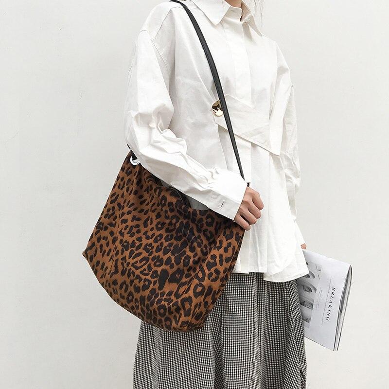 New Fashion Women Leopard Messenger Bag Large Capacity Crossbody Bags For Soft Zipper Purses Handbag Travel Shopping Bag