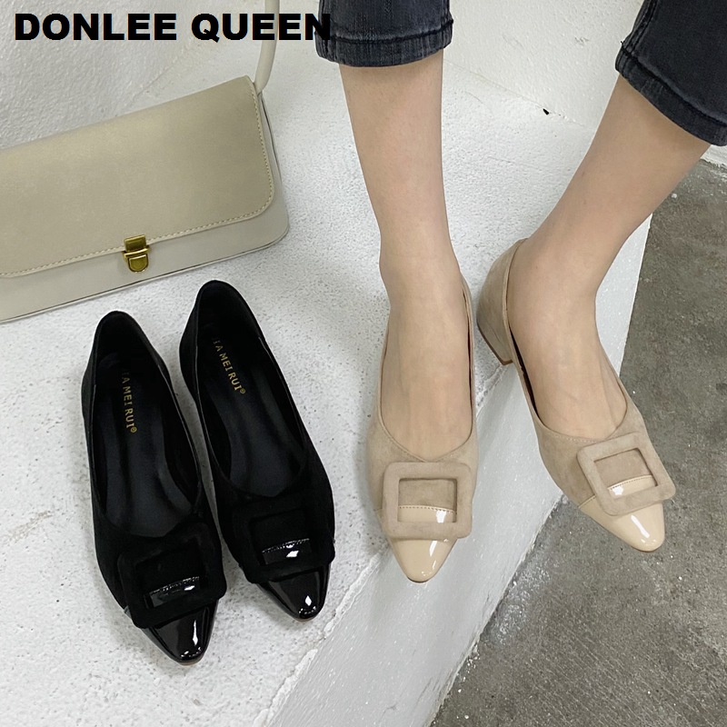 2020 Spring Flats Shoes Women Brand Buckle Flat Shoes For Woman Casual Fashion Low Heel Slip On Pointed Toe Comfortable Moccasin