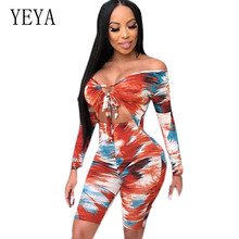 YEYA Romper Women Playsuits New Vintage Print Long Sleeve Hollow Out Jumpsuits Elegant Bodycon Bandage Stylish Retro Overalls