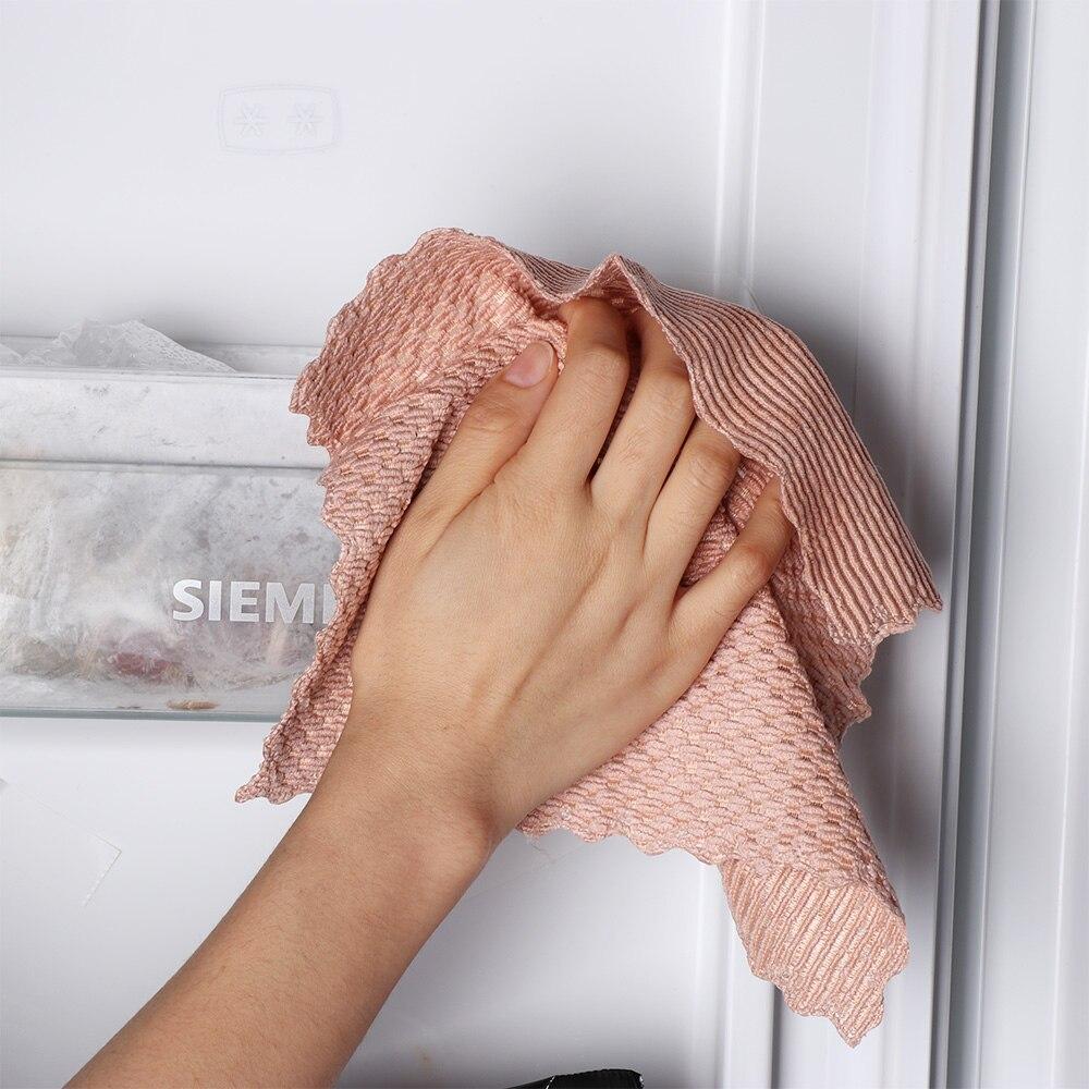 Pa/ño de microfibra para limpieza 2pcs almendra franela antigrasa 1 wipping Rags absorbente estupendo Limpiador de Micro fibra de lavado pa/ño de cocina Suministros de cocina pa/ño microfibra