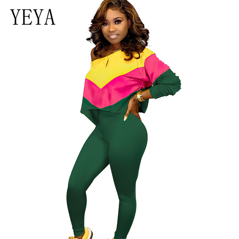 YEYA Casual Rompers Jumpsuits for Women Stylish Two Pieces Sets Bodycon Fashion Long Sleeve Patchwork Playsuits Plus Size XXL