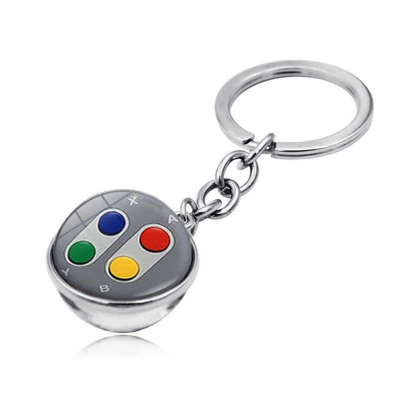 Game Controller Pattern Double Sided Glass Ball Keychain Pendant Fashion Jewelry Key Ring Holder Geeky Boyfriend Perfect Gift