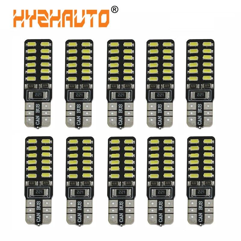 HYZHAUTO 10 шт. T10 W5W светодиодные Canbus лампы для салона автомобиля купольные лампы для чтения Белый 3014 24-SMD 12 В