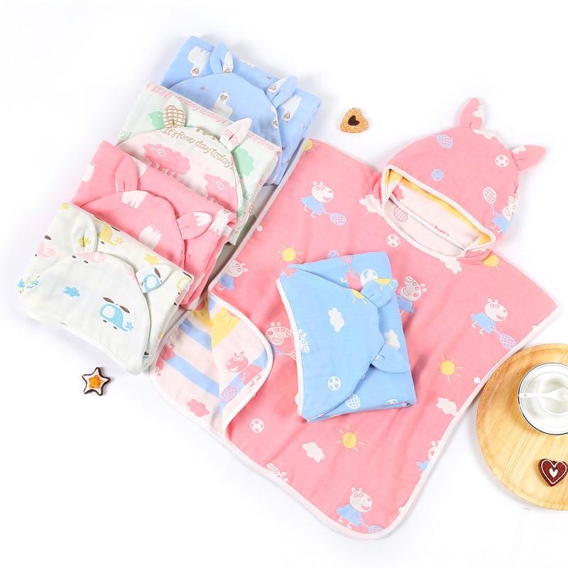 Pure Cotton 6-Layer Gauze CHILDREN'S Cloak Mantle Bath Hooded Bath Towel Wearable Bath Towel Hooded Bathrobe Class A No Fluoresc