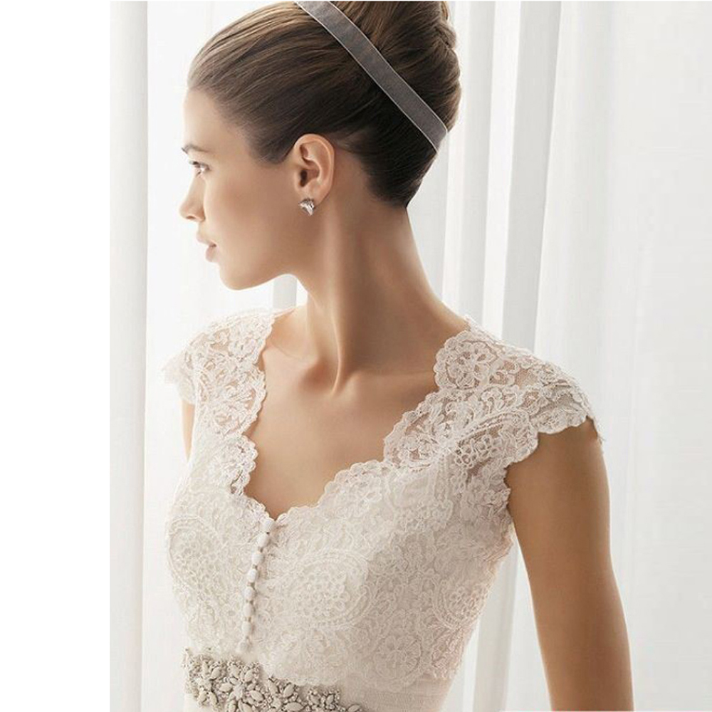 Wedding Bolero V Neck Lace Bridal Wraps For Wedding Party Prom Cheap Ivory Sleeveless Bride Jacket Bolero Shrug