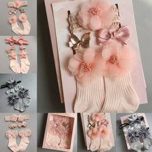 4 шт./компл. новорожденных носки для маленького мальчика/девочки кружевная балетная пачка с оборками для малюток; носки с оборками; платье принцессы, нескользящие носки+ головная повязка+ заколка для волос на возраст от 0 до 24 месяцев