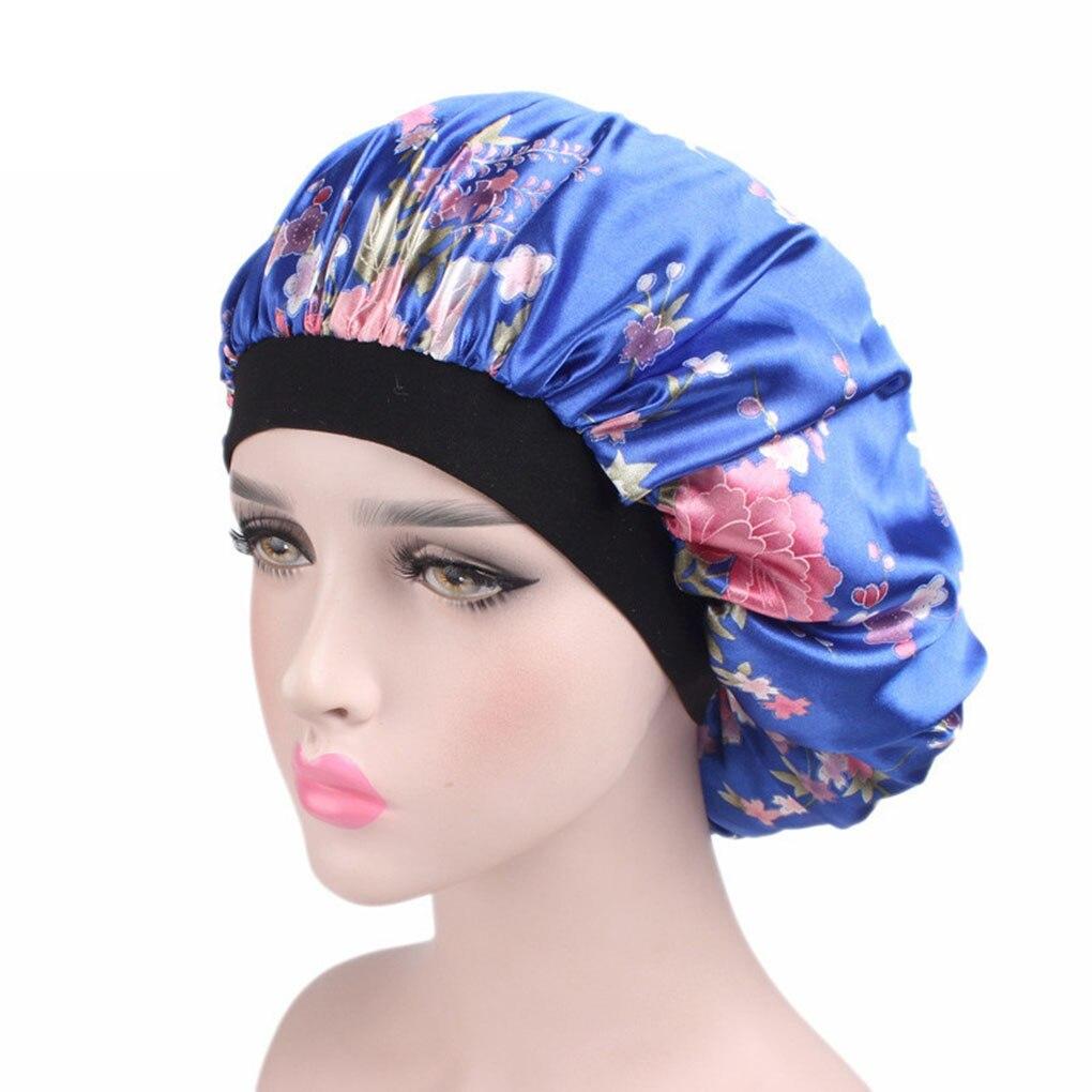 Унисекс, сатиновая шапка для взрослых, ночная шапочка с широкими полями, цветочный Чепчик для сна, шапочка для душа, шелковые купальные шапк...