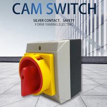 Isolator Switch With Waterproof Enclosure 25A 3P 2 Position ON-OFF Padlock Rotary Cam Power Switches Selector YMD12-25