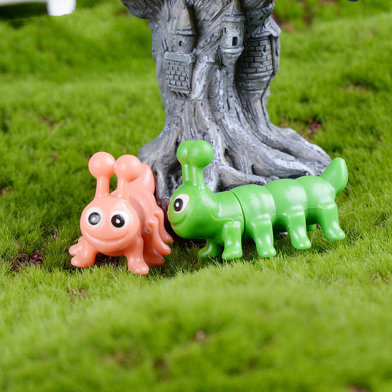 Ofício da resina verde rosa lagarta dos desenhos animados DIY acessórios da boneca de brinquedo Sonho lagarta