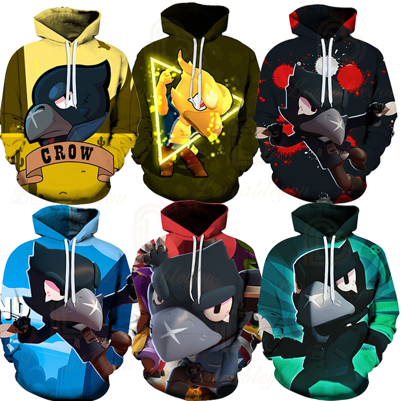 Children Cute Crow Shoot Brawls Game 3D Print Hoodies Men Clothing Harajuku Sweatshirt Kids Star Leon Child Tops Boys Girls