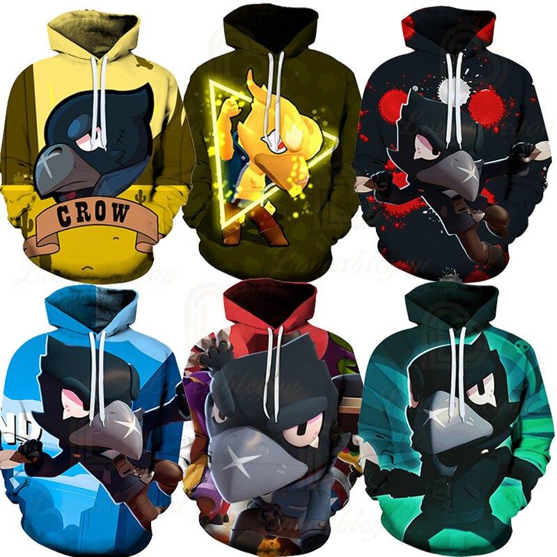 Children Cute Crow Shoot Brawls Game 3D Print Hoodies Men Clothing Harajuku Sweatshirt Kids Star Leon Child Tops Boys Girls