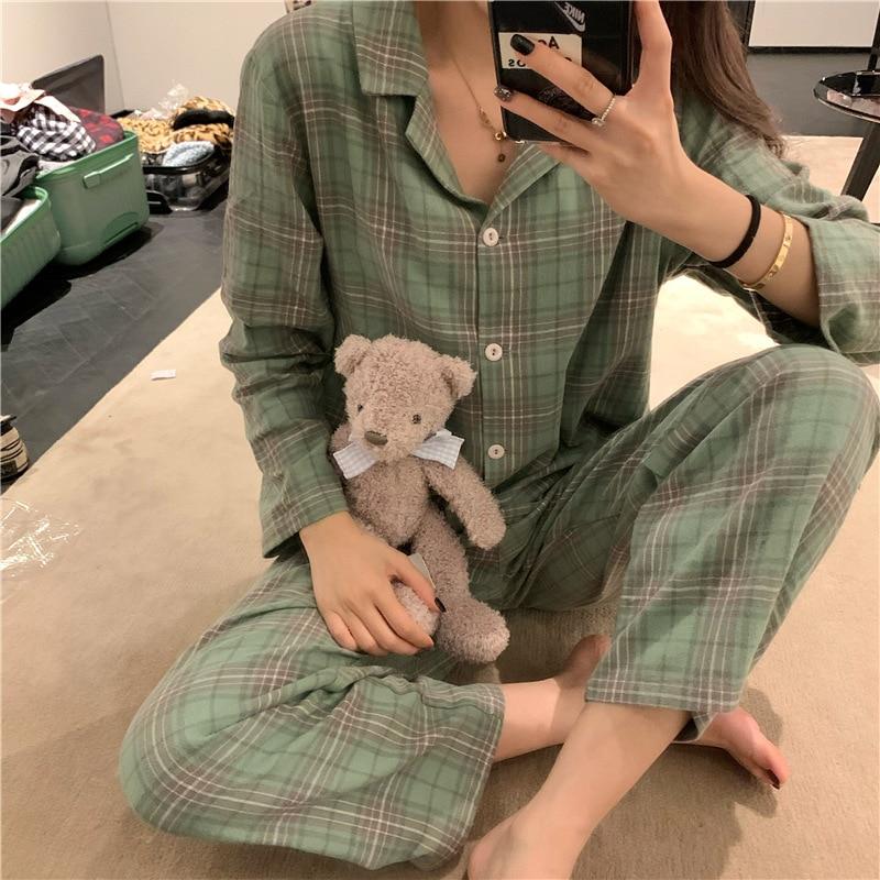 Photo Shoot 2019 WOMEN'S Dress Autumn & Winter Hipster Comfortable Pajamas Women Long Sleeve Green Plaid Tracksuit Two-Piece Set