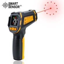 Detector térmico por infrarrojos digital sin contacto, termómetro medidor de temperatura láser con pantalla LCD a color, higrómetro IR, alarma