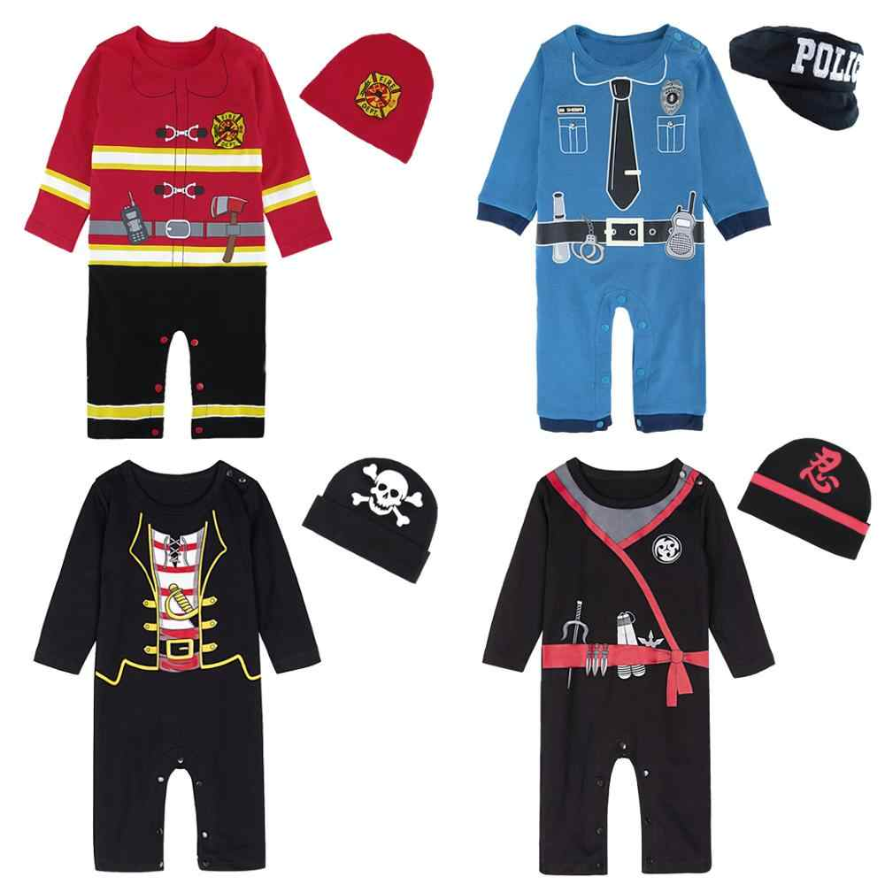 Baby Boys Police Costume Romper Infant Pirate Playsuit Newborn Carnival Jumpsuit